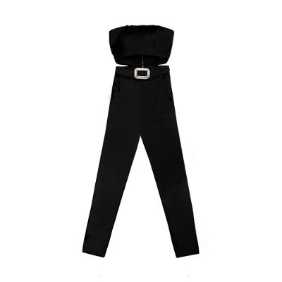 tube top cut out jumpsuit black